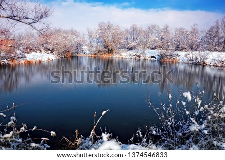 Lake in Winter and Snow  Stok fotoğraf ©