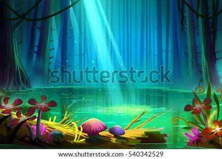 stock photo lake inside the deep forest video game s digital cg artwork concept illustration realistic 540342529 - Каталог — Фотообои «Для детской»
