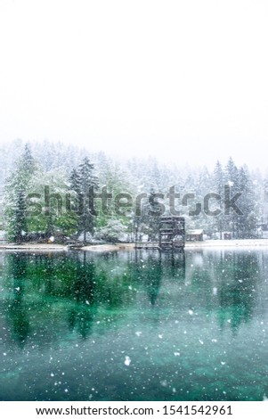 Lake Jasne in Slovenia. Snowy and cold morning in May 2019. Snow landscape of the lake. Snow on top of trees. Popular tourist destination. Slovenia Zdjęcia stock ©