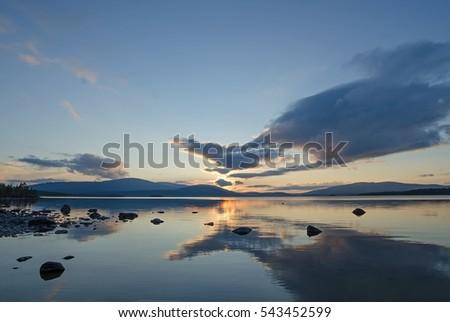 Lake Kolvitsa (North Russia) on a decline #543452599