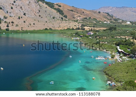 Lake Kournas at Crete island in Greece