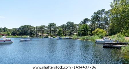 lake Lacanau Aquitaine France in web banner template