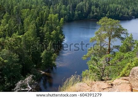 Lake Ladoga, archipelago Valaam. Russia. Karelia. #604391279