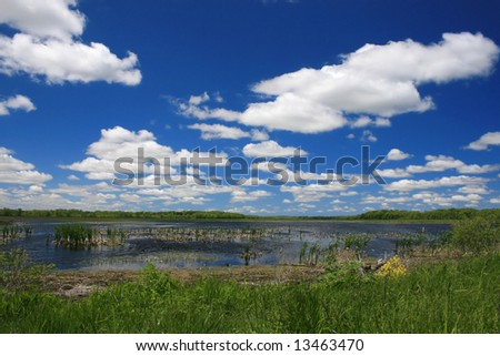 Lake landscape, cloudscape, rich blue colors (Montezuma Park in upstate New York in the Finger Lakes Region)
