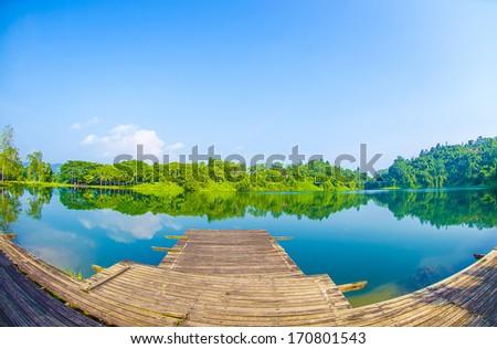 Lake landscape - fisheye view #170801543