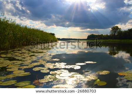 lake landscape with sun rays