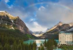 Lake Louise, Alberta Canada and Victoria glacier at sunrise against the Fairmont Chateau Lake Louise background