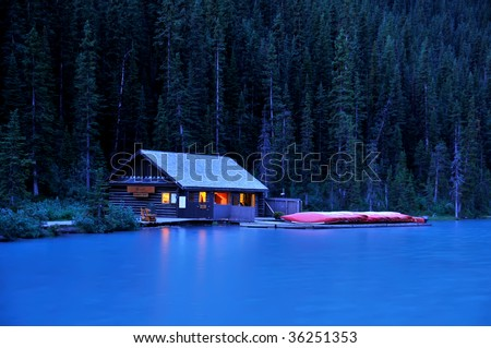 Lake Louise Boat House at Night Horizontal