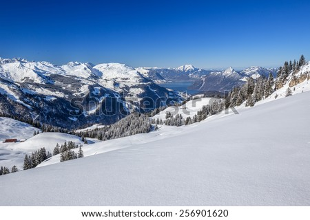 Free photos Ski slopes, Lake Lucerne and Swiss Alps covered by fresh ...
