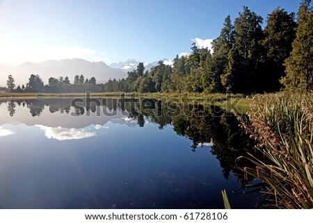 Lake Mathieson's reflected nature, South Island, New Zealand.