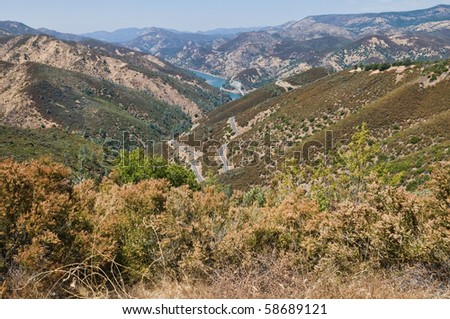Lake McClure and the foothills of the Sierra Nevadas, from Bagby, California