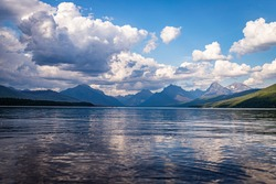 Lake McDonald in Glacier National Park at the Rocky Mountains of Montana.