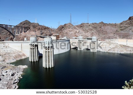 Lake Mead and Hoover dam on the Colorado River in the Western United States. - stock photo