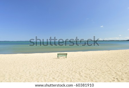 lake Michigan beach with bench