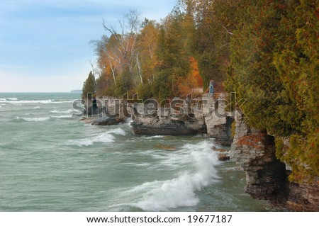 Lake Michigan cliffs along the shore in autumn.