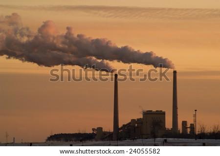 Lake Michigan Coal Power Plant at Sunset