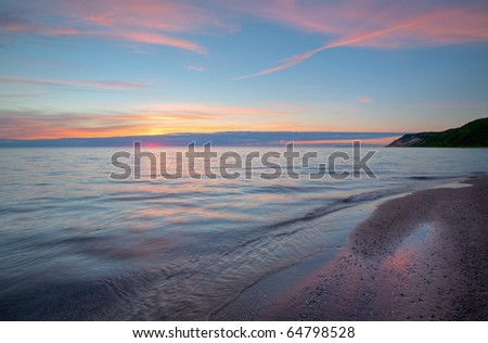 Lake Michigan shoreline at sunset, Sleeping Bear Dunes National Lakeshore, Michigan, USA