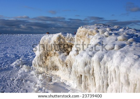 Lake Michigan winter of '09 - stock photo