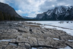 lake minnewanka with a huge mountain in the background and some fallen trees in the foreground.  winter time and frozen water with snow