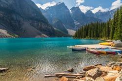 lake Moraine nature sceneries, Alberta, Canada