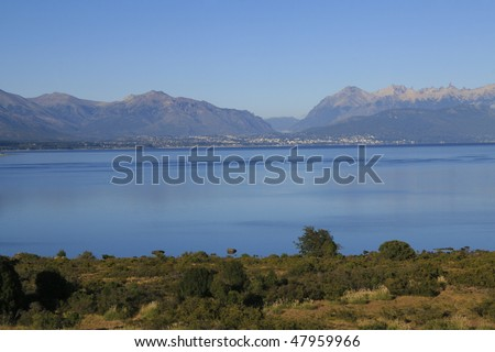 Lake Nahuel Huapi and the town of Bariloche in Argentina - stock photo