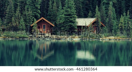 Stock Photo Lake O'hara in Yoho National Park with waterfront carbin.