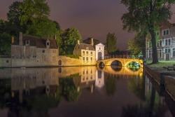 Lake of Love and Beguinage at night, Brugge, Belgium
