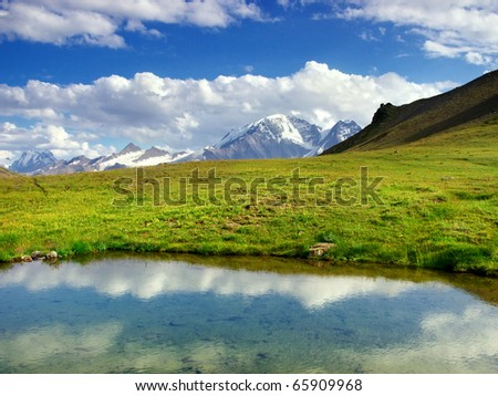 Lake on green meadow with mountain array on background. Natural composition