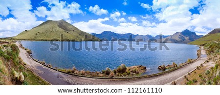 lake panorama with clouds and mountains