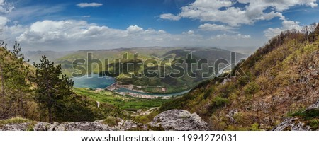 Lake Perucac and Drina canyon panorama from viewpoint in Tara national park of Serbia. Observation point on hiking route in mountain forest, balkan hiking trail in Dinaric alps. Stock photo ©