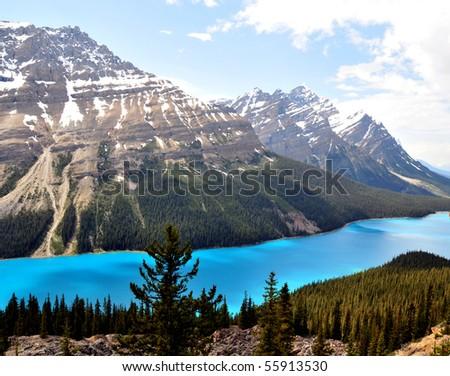 lake peyto, banff national park, canadian rockies - stock photo