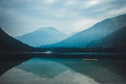 Lake Plansee in the European Alps, in Austria at early morning.