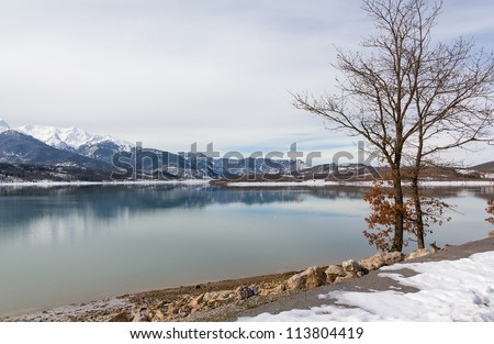 Lake Plastiras in the winter, Thessaly, Greece