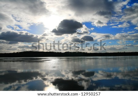 Lake, Poland - blue sky over water