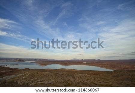 Lake Powell Landscape - Panorama. Page, Arizona, USA. Beautiful Lake Powell Reservoir Landscape. Nature Photo Collection.
