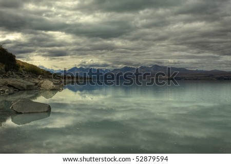 Lake Pukaki Shoreline near Mount Cook National Park on the South Island of New Zealand