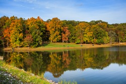 Lake reflection with fall color