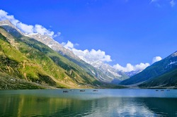 Lake Saif Ul Malook nestles in between the immense peaks and fed by its glacial melt in Kaghan Valley. The lake is considered as one of the highest lakes in Pakistan with an elevation of 10,578 feet a