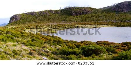 Lake Salome in the beautiful Walls of Jerusalem National Park in wilderness Tasmania, Australia