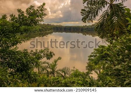 Lake Sandoval in Peru, Peruvian Amazon, South America. View of Lake Sandoval, Peruvian Amazon, Peru, South America. Located Tambopata-Candamo; a nature reserve. Basin south of the Madre de Dios River.