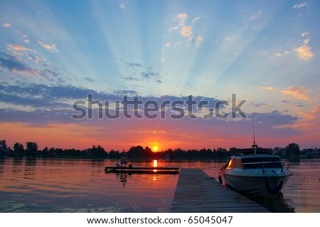 Lake sunset landscape