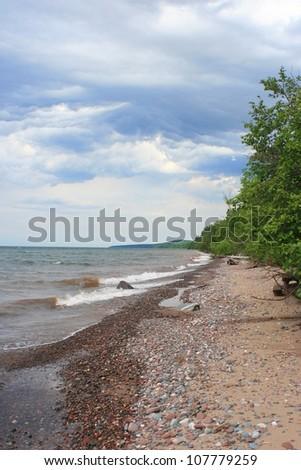 Lake Superior beach in the Presque Isle region of the Porcupine Mountain Wilderness State Park, Michigan - stock photo