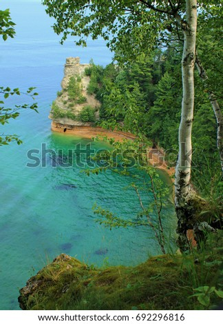 Lake Superior coastline/pictured rocks national lakeshore/miners castle rock