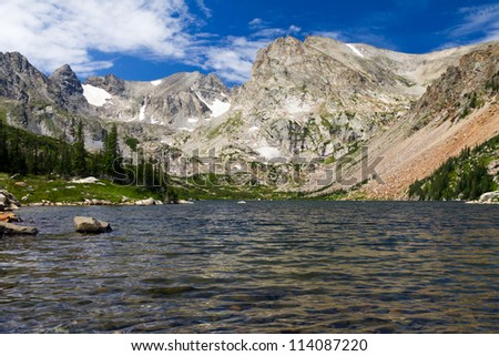 Lake Surrounded by Colorado Rocky Mountains Landscape