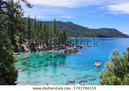 Lake Tahoe from the Nevada side on a clear, sunny day. May 2020. Stock fotó ©