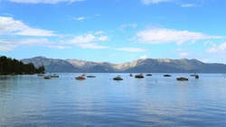 Lake Tahoe Scenery, A peaceful sight of Tahoe lake with speedboats, A calm, relax and peaceful place worth visiting once in a lifetime.