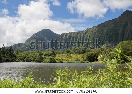Lake To Mountain View At Hoomaluhia Botanical Gardens, Oahu, Hawaii, USA  #690224140