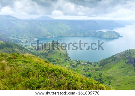 lake toba during dramatic cloud