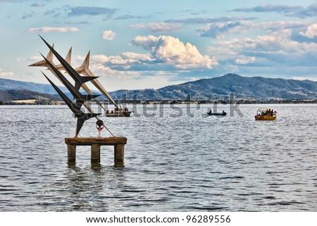 Lake Trasimeno or Trasimene (in Italian: Lago Trasimeno), is the largest lake in the Italian peninsula south of the Po with a surface area of 128 km�², slightly less than Lake Como.