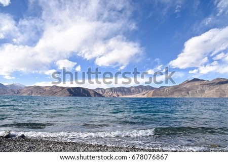 Lake, Tso Pangong in the Himalayas under the Blue sky and clouds. Ladakh, India. #678076867